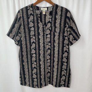 vintage leaf print short sleeve button up blouse